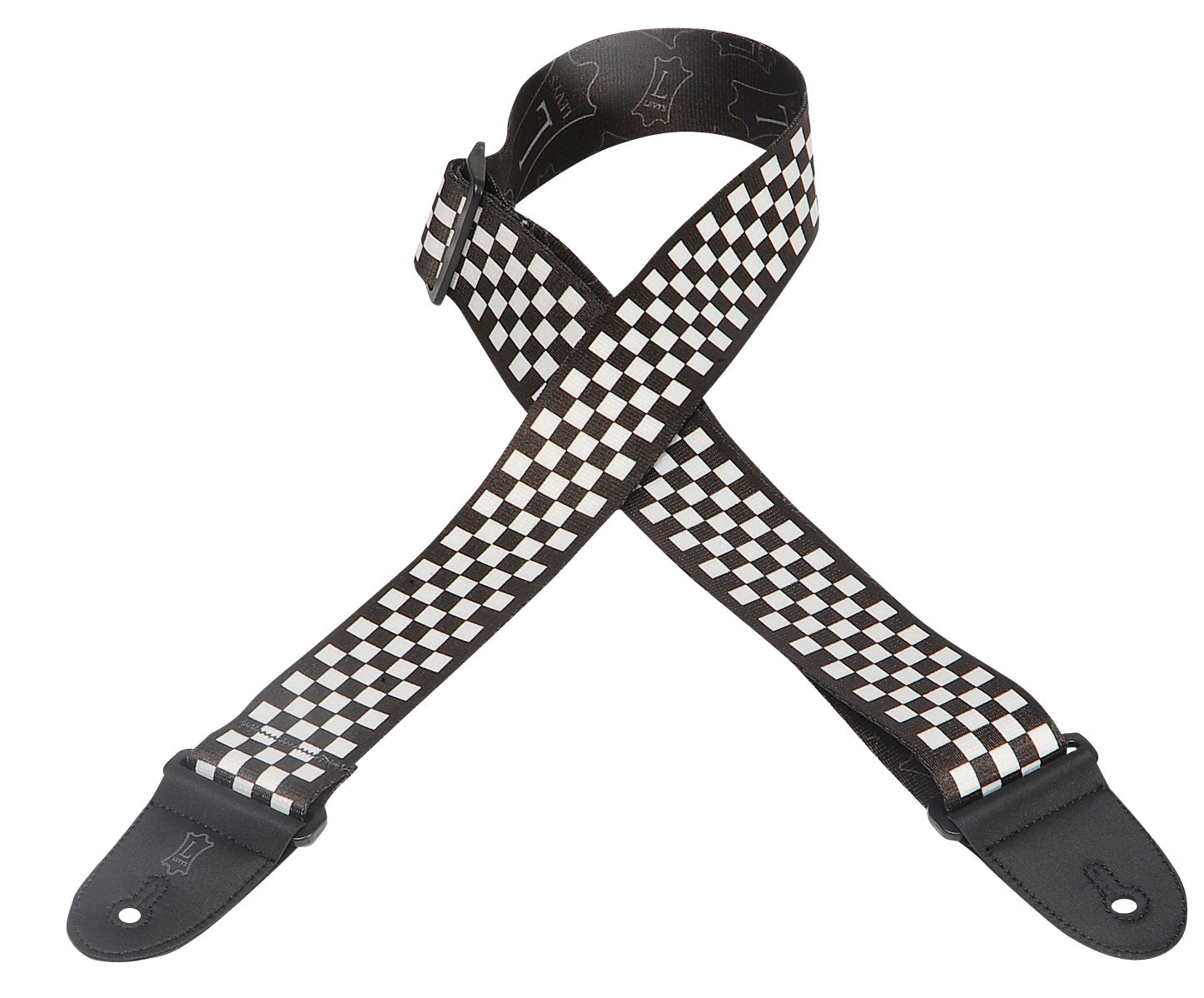 "LEVY'S 2"" POLYESTER GUITAR STRAP WITH PRINTED DESIGN BLACK/WHITE CHECK"