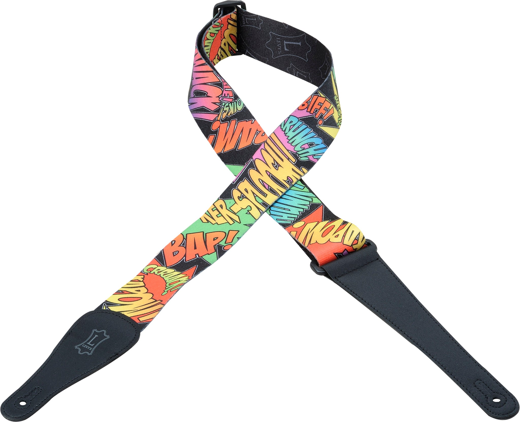 "LEVY'S 2"" POLYESTER GUITAR STRAP WITH SUBLIMATION DESIGN COMIC SCRIPT"