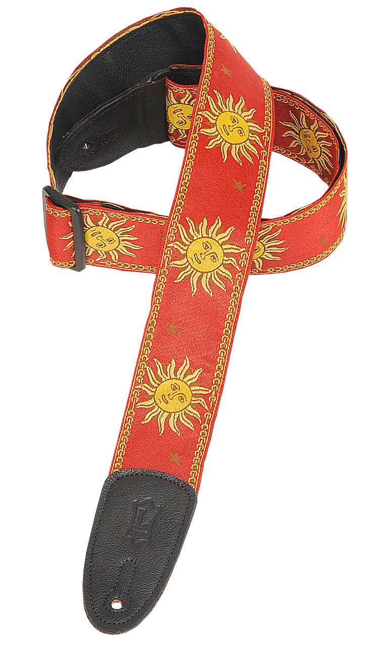 "LEVY'S 2"" SUN DESIGN JACQUARD WEAVE GUITAR STRAP WITH GARMENT LEATHER BACKING- RED"