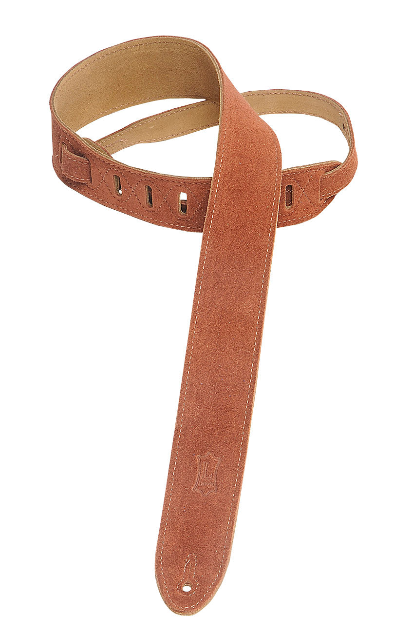 "LEVY'S 2"" SUEDE GUITAR STRAP RUST"