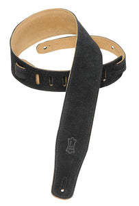 "LEVY'S 2.5"" SUEDE GUITAR STRAP BLACK"