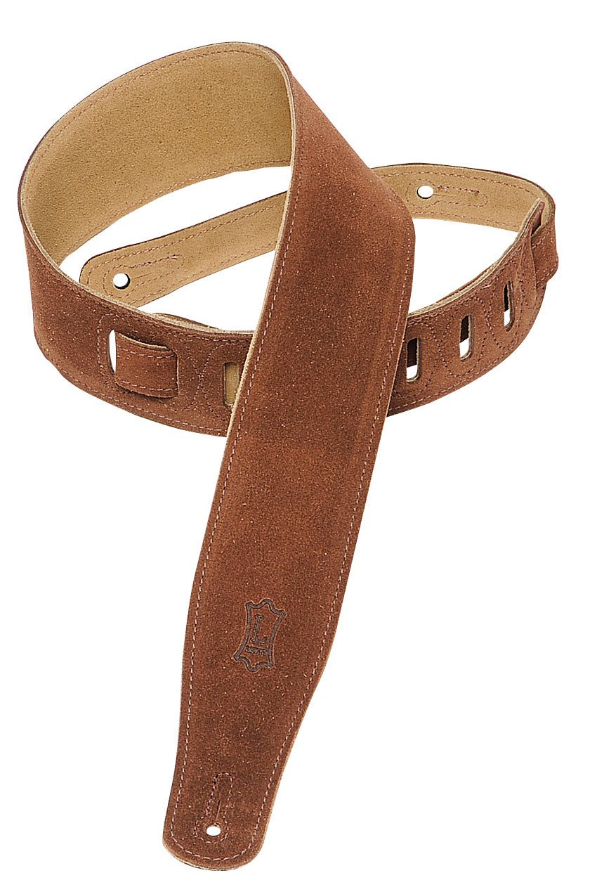 "LEVY'S 2.5"" SUEDE GUITAR STRAP BROWN"