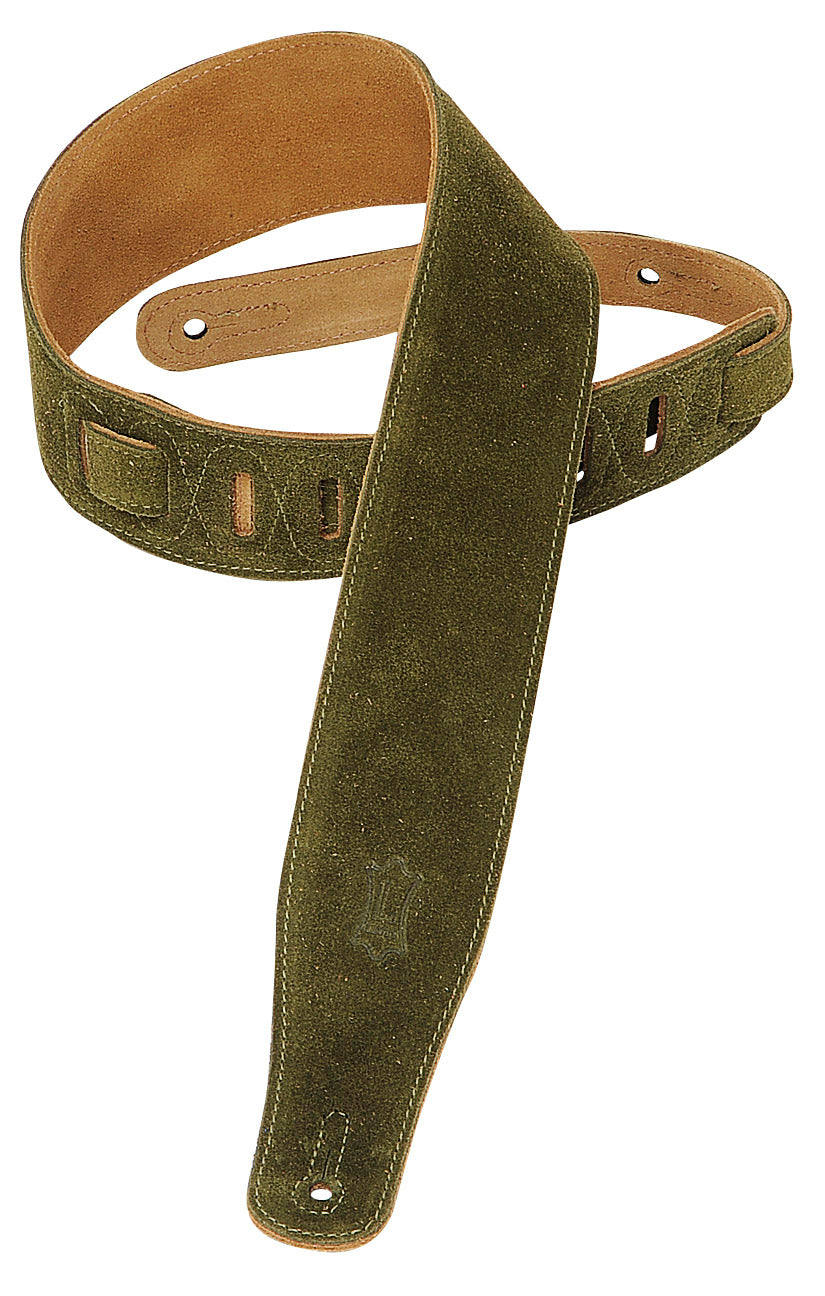 "LEVY'S 2.5"" SUEDE GUITAR STRAP GREEN"