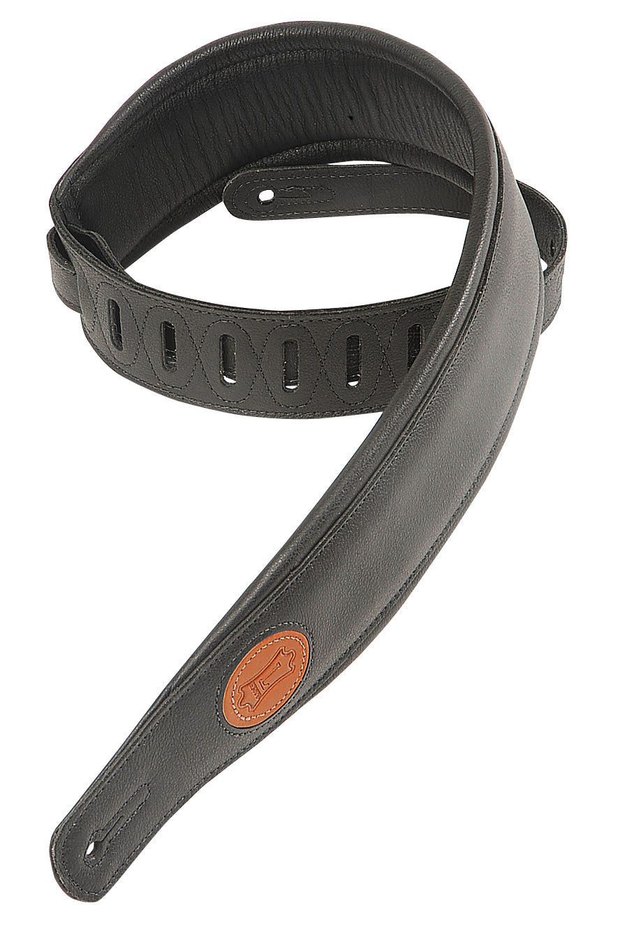 "LEVY'S 2 1/2"" SIGNATURE GARMENT LEATHER STRAP BLACK"