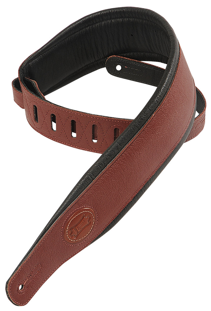 "LEVY'S 2 1/2"" SIGNATURE GARMENT LEATHER STRAP BURGUNDY"