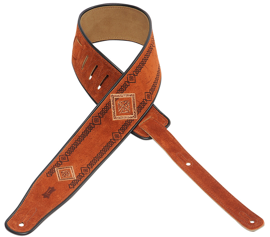 "LEVY'S 2 1/2"" SUEDE GUITAR STRAP WITH EMROIDERED AND PRINTED DESIGN - 003"