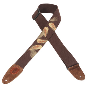 "LEVY'S 2"" COTTON GUITAR STRAP WITH PRINTED AND EMBROIDERED DESIGN BROWN W/ FEATHERS"