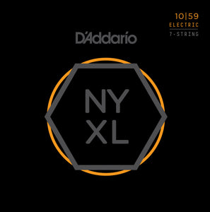 D'ADDARIO NYXL 7 STRING ELECTRIC GUITAR STRINGS .010-.059