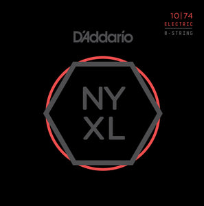 D'ADDARIO NYXL NICKEL WOUND 8 STRING SET LIGHT TOP/HEAVY BOTTOM ELECTRIC GUITAR STRINGS .010-.074
