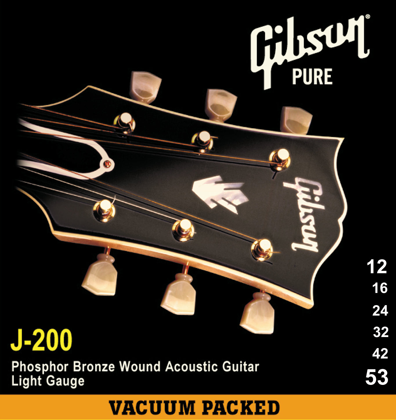GIBSON J-200 PHOSPHOR BRONZE ACOUSTIC GUITAR STRINGS LIGHT 12-53