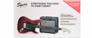 SQUIER AFFINITY SERIES STRATOCASTER HSS/FRONTMAN 15G PACK, CANDY APPLE RED, RW