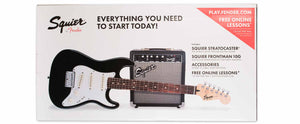 SQUIER STARTER PACK- SHORT SCALE STRATOCASTER/FRONTMAN 10G AMPLIFIER, BLACK, RW
