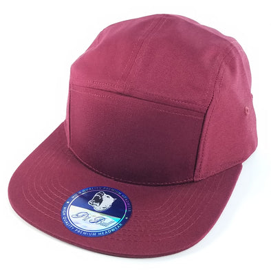 PB135 Pit Bull 5 Panel Camper Hats [Burgundy]