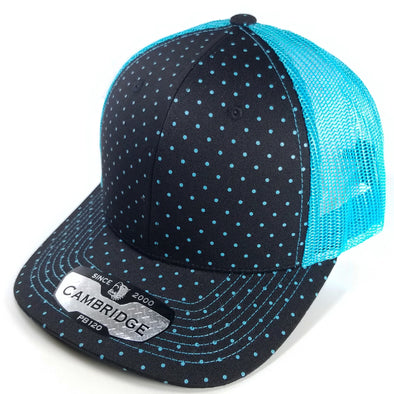 PB120C Pit Bull Polkadot 6 Panel Mesh Trucker Hats [Black/N.Blue]