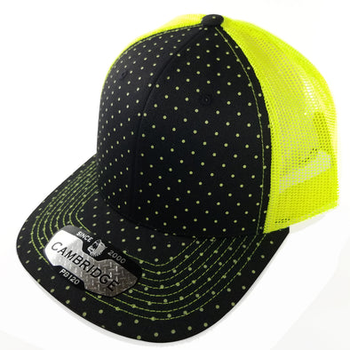 PB120C Pit Bull Polkadot 6 Panel Mesh Trucker Hats [Black/N.Yellow]