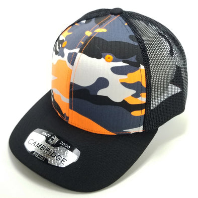 PB251 Pit Bull Cambridge 6 Panel Camo Trucker [N.Orange Camo/Black]