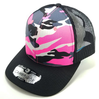 PB251 Pit Bull Cambridge 6 Panel Camo Trucker [N.Pink Camo/Black]