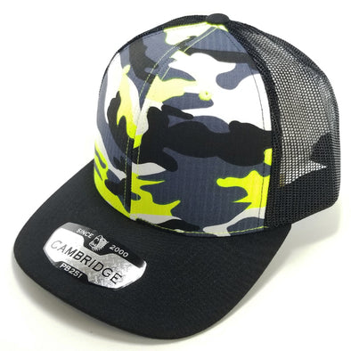 PB251 Pit Bull Cambridge 6 Panel Camo Trucker [N.Yellow Camo/Black]