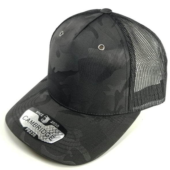 PB238 Pit Bull Cambridge 5 Panel Shiny Camo Trucker [Black]