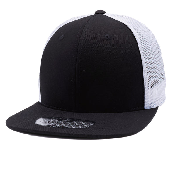 PB107 Cotton Trucker Hats [Black/White]