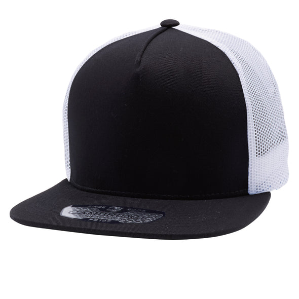PB108 Pit Bull 5 Panel Cotton Trucker Hats [Black/White]