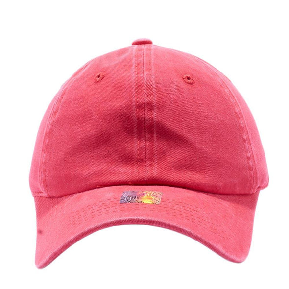 PIT BULL Blank Unstructured Pigment Dyed Dad Hats Wholesale and Custom Red