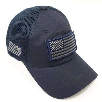 DV557  Pit Bull US Flag Velcro Patch Micro Mesh Hats [Navy]