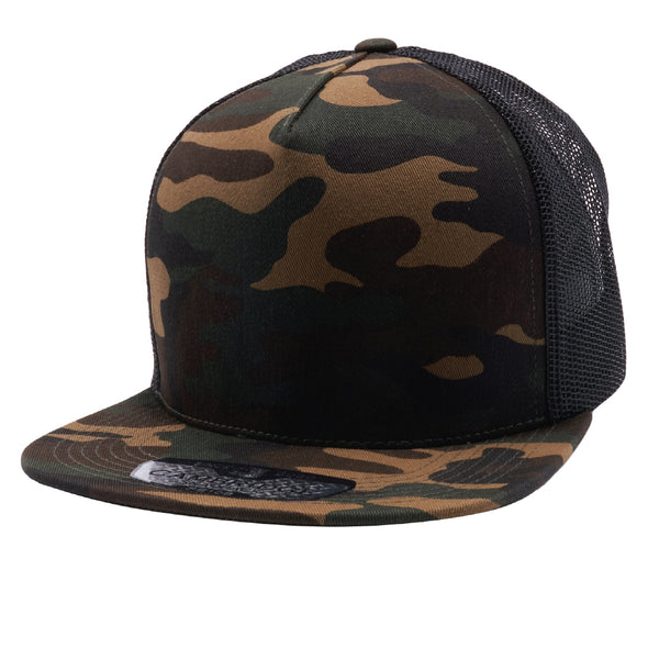Pit Bull 5 Panel Cotton Trucker Hats Wholesale [G.Camo/Black]