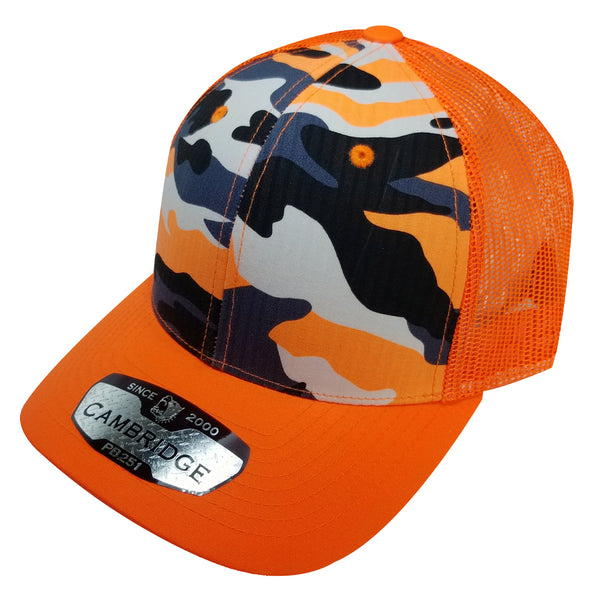 PB251 Pit Bull Cambridge 6 Panel Camo Trucker [N.Orange Camo]