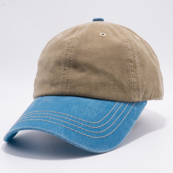 PB188k Pit Bull Pigment Washed Cotton Khaki 2 Tone Buckle Strap Hat Wholesale [Khaki/Blue]
