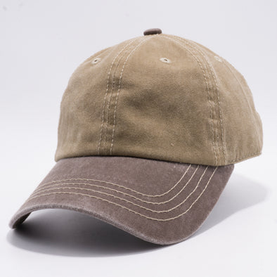 PB188k Pit Bull Pigment Washed Cotton Khaki 2 Tone Buckle Strap Hat [Khaki/Brown]