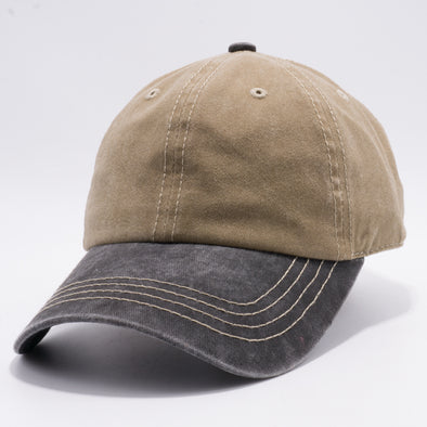 PB188k Pit Bull Pigment Washed Cotton Khaki 2 Tone Buckle Strap Hat  [Khaki/Black]