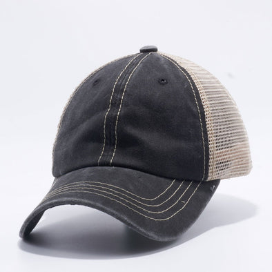 Wholeasle PB221 Pit Bull Pigment Dyed Trucker Hat Black and Khaki Mesh