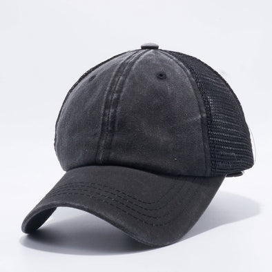 Wholesale PB221 Pit Bull Pigment Dyed Trucker Hat Black