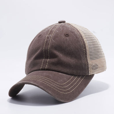 Wholesale PB221 Pit Bull Pigment Dyed Trucker Hat Brown and Khaki