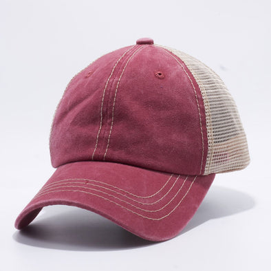 Wholesale PB221 Pit Bull Pigment Dyed Trucker Hat Burgundy and Khaki Mesh Back