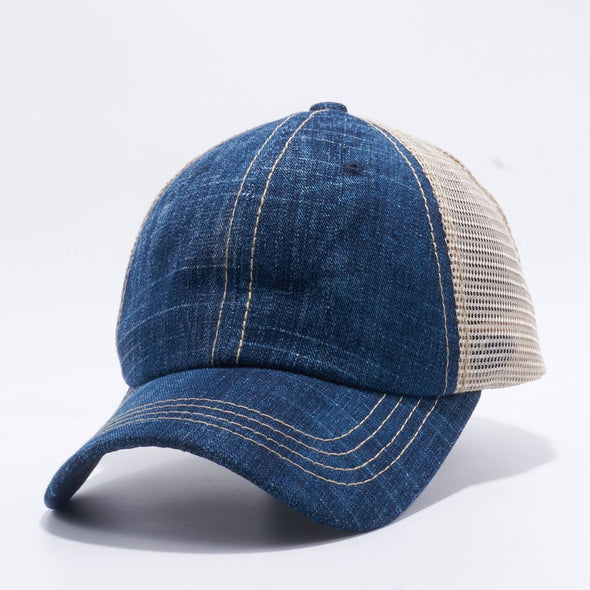 Pb221 Pit Bull Pigment Dyed Trucker Hat [Denim/khaki] Dad