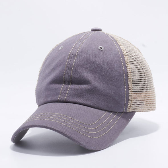 Wholesale PB221 Pit Bull Pigment Dyed Trucker Hat Grey and Khaki Mesh Back