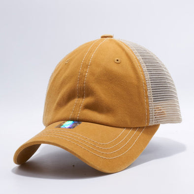 Wholesale PB221 Pit Bull Pigment Dyed Trucker Hat Mustard Gold and Khaki
