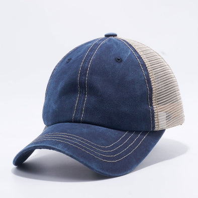 Wholesale PB221 Pit Bull Pigment Dyed Trucker Hat Navy and Khaki Mesh Back