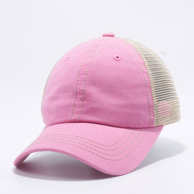 Wholesale PB221 Pit Bull Pigment Dyed Trucker Hat Pink and Khaki Mesh Back