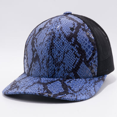 PB234 Cambridge Multi PU Snake Boa Mesh Trucker Hat [K32 Blue/Black]