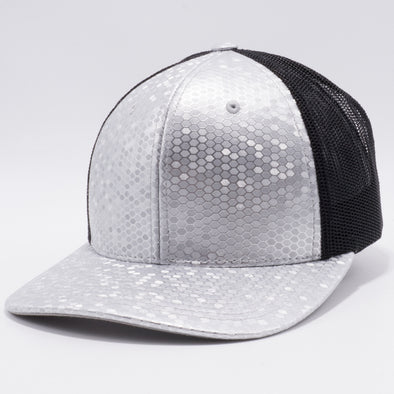 PB234 Cambridge Multi PU Mesh Trucker Hat [K8 Light Grey/Black]
