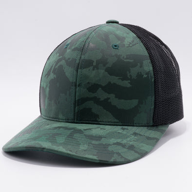PB234 Cambridge Multi PU Mesh Trucker Hat [K14 Green/Black]