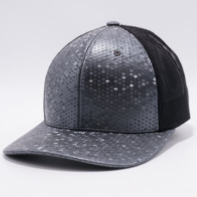 PB234 Cambridge Multi PU Mesh Trucker Hat [K8 Charcoal/Black]