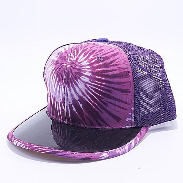 Pit Bull Tie Dye Anti Uv Visor Snapback Hats Wholesale [Purple] Trucker