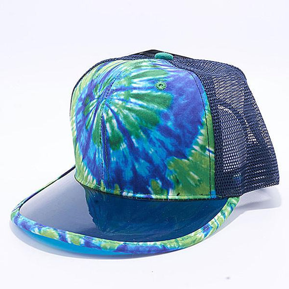 Pit Bull Tie Dye Anti Uv Visor Snapback Hats Wholesale [Green/blue] Trucker