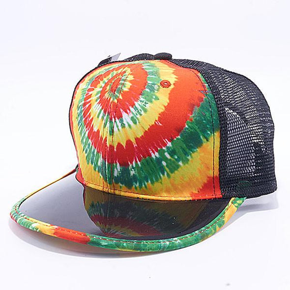 Pit Bull Tie Dye Anti Uv Visor Snapback Hats Wholesale [Rasta] Trucker
