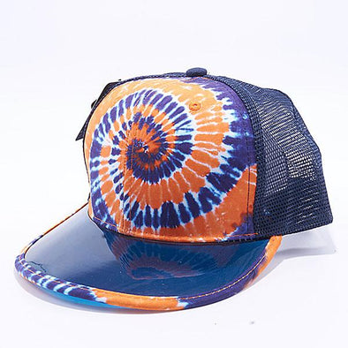 Pit Bull Tie Dye Anti UV Visor Snapback Hats Wholesale [Navy/Orange]