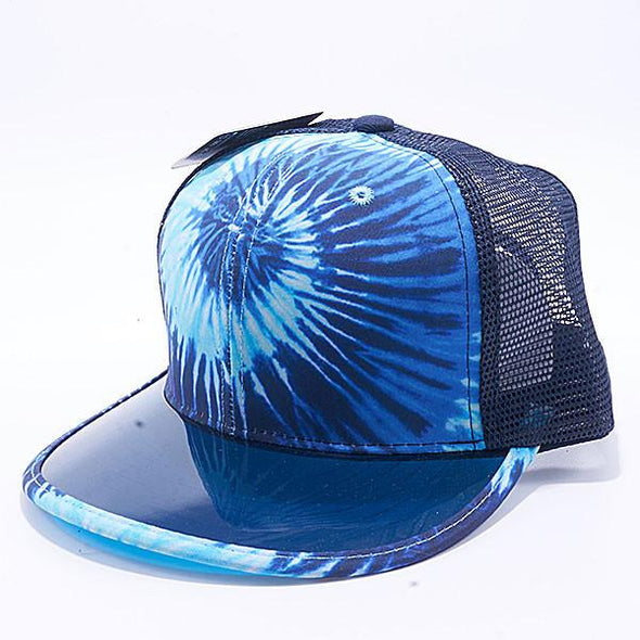 Pit Bull Tie Dye Anti Uv Visor Snapback Hats Wholesale [Navy] Trucker